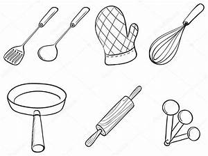 Silhouettes of kitchen utensils — Stock Vector ...