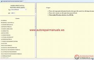 Mitsubishi Pajero Sport Ge 2009 Service Manual