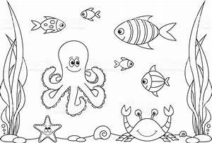 Libro Para Colorear Vida En El Mar Arte vectorial de stock y más imágenes de 2015 497540798