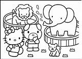 Zoo Coloring Animals Pages Hello Kitty sketch template