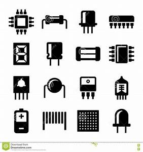 electronic components and microchip icons set vector With component symbols