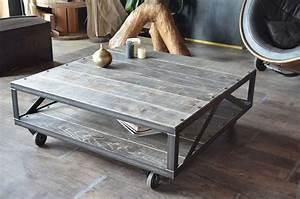 Table Basse Bois Gris : 26 best images about table industrielle bois acier brut ~ Melissatoandfro.com Idées de Décoration