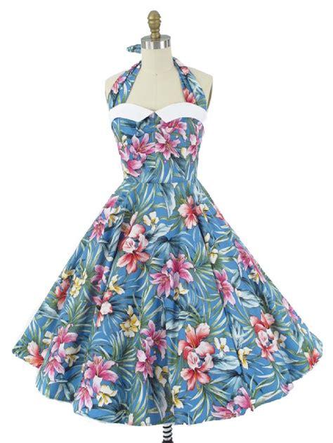 blue hawaiian floral halter dress  inspired swing dress