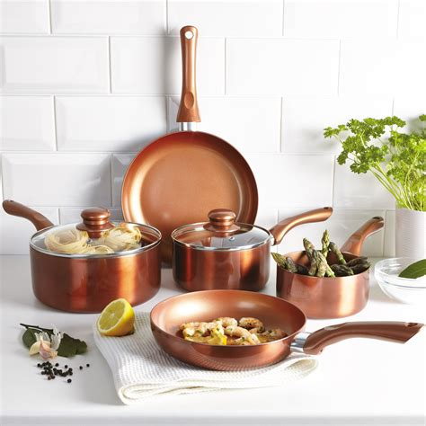 urbn chef ceramic copper induction cooking pots lids saucepans pans cookware set ebay