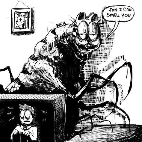 terrifying version  garfield reimagined  gameboy style horror game popcorn horror