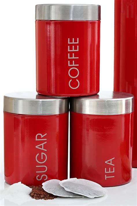 premier housewares red tea coffee sugar canisters