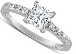 1 carat solitaire engagement ring 1 carat princess cut engagement ring in 10k white gold jeenjewels