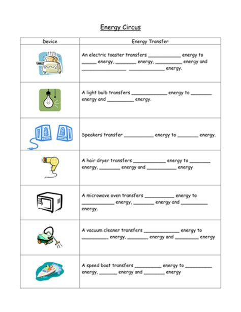 worksheet 4 6 forms of energy answer key energy circus by gregodowd teaching resources tes