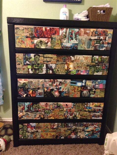 diy boys avenger themed dresser  comic strips  mod