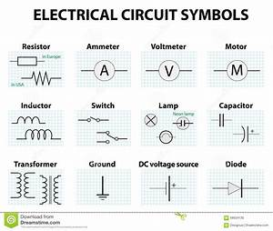 Common Circuit Diagram Symbols Stock Vector