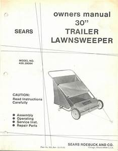 Sears 30 U0026quot  Trailer Lawnsweeper Model No  426 26094 Vintage Owners Manual 1982