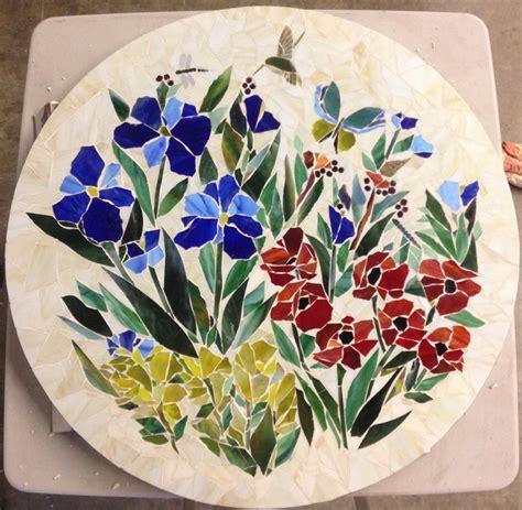 Mosaic Table Top (Floral Motif)   Designer Glass Mosaics