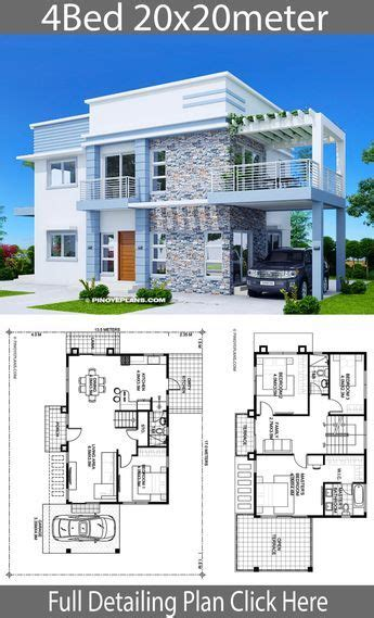Home design plan 20x20m with 4 Bedrooms Model house plan