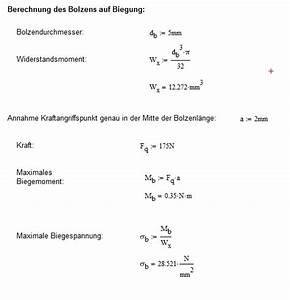 Biegespannung Berechnen : bolzenberechnung fem und h ndisch wissenstransfer anlagen und maschinenbau berechnung von ~ Themetempest.com Abrechnung