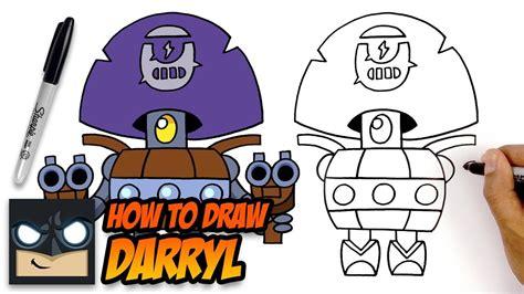 draw brawl stars darryl step  step
