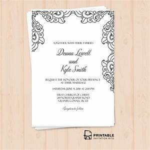 free pdf vintage side border invitation printable With wedding invitation wording samples pdf