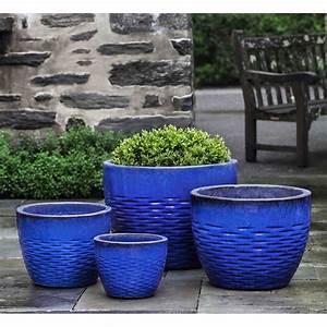 Hyphen, Large, Ceramic, Plant, Pots, Blue