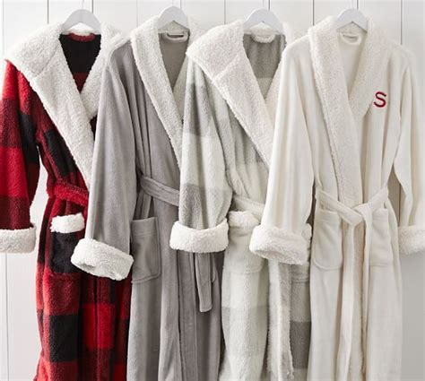 pottery barn robe cozy sherpa robe buffalo check pottery barn