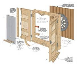 Diy Sewing Cabinet by Dartboard Cabinet Woodsmith Plans