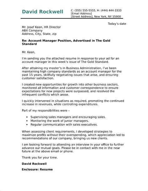 Account Manager Cover Letter by Account Manager Cover Letter Sle