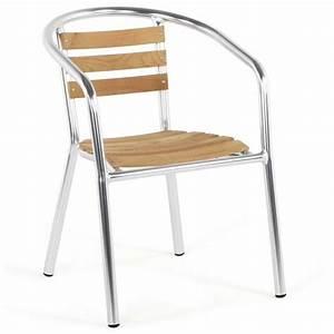 Chaise En Bois : chaise de jardin aluminium bois ~ Melissatoandfro.com Idées de Décoration