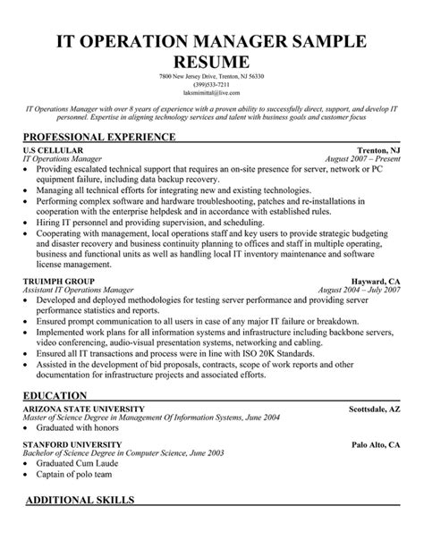 software operations manager resume redcreg