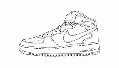 Nike Shoe Shoes Template Drawing Air Coloring