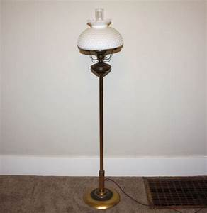vintage brass floor lamp with hobnail shade ebth With white hobnail floor lamp
