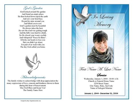 celestial dove funeral program template elegant memorials