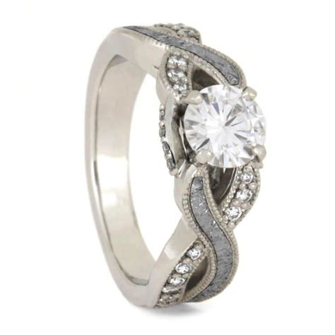 meteorite wedding ring moissanite engagement ring and band jewelry by johan
