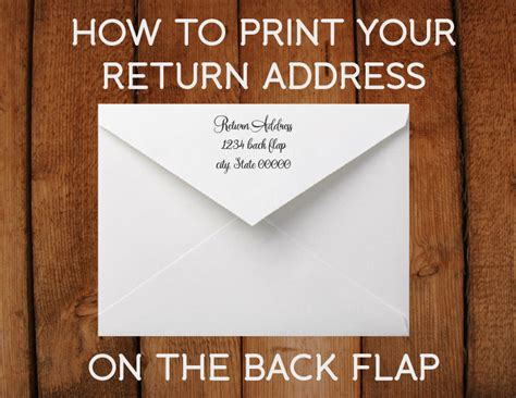 how to print your return address on the back flap
