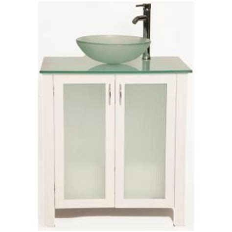 vessel sink vanity home depot bionic allison 31 in vanity in white with glass vanity 8812
