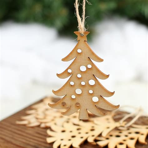 unfinished wood laser cut christmas tree ornaments wood