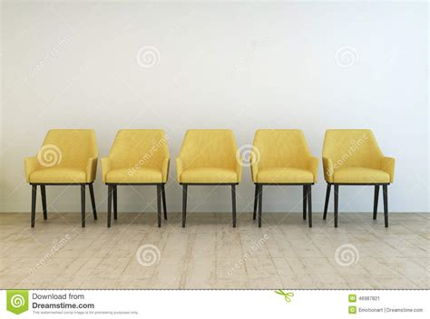 row of empty chairs against a wall stock illustration