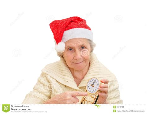 Santa Claus With Maiden In Bright Clothes Stock In Santa Claus Hat And Clock Stock Photos