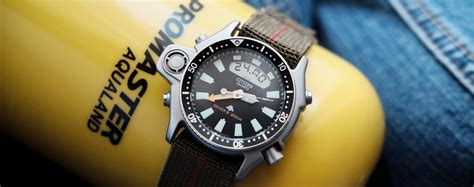 vintage alarm review citizen aqualand promaster the blue collar dive
