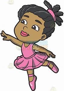 A Little Black Ballet Dancer Cartoon Clipart - Vector Toons