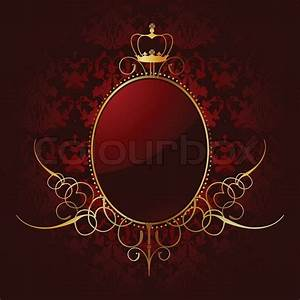 Royal red background with golden frame Vector Stock
