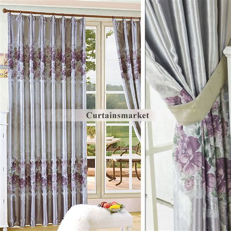 gray floral curtains purple and grey curtains in floral style
