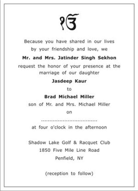 sikh wedding invitation wordingssikh wedding wordings