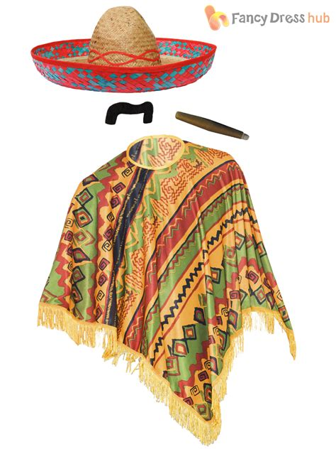 fringed poncho mexican poncho mexico fancy dress bandit cowboy stag do