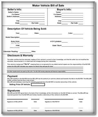 vehicle bill  sale templates    sample