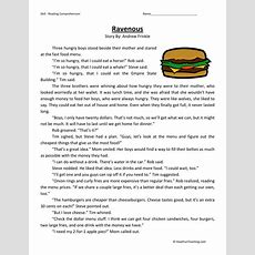 Reading Comprehension Worksheet Ravenous