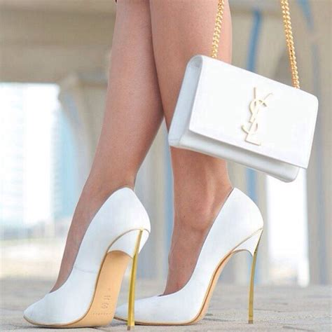 ysl clutch bag  white high heels pictures