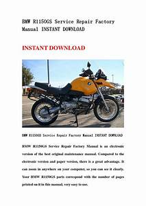 Bmw R1150gs Service Repair Factory Manual Instant Download