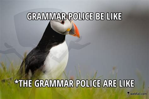 Grammar Police Meme - grammar police be like meme picture webfail fail pictures and fail videos