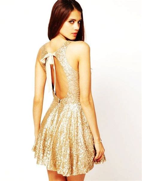sparkly gold open back short holiday dress pictures