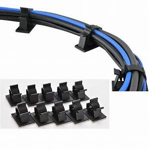 10pcs Cable Cord Wire Organizer Plastic Clips Ties Fixer