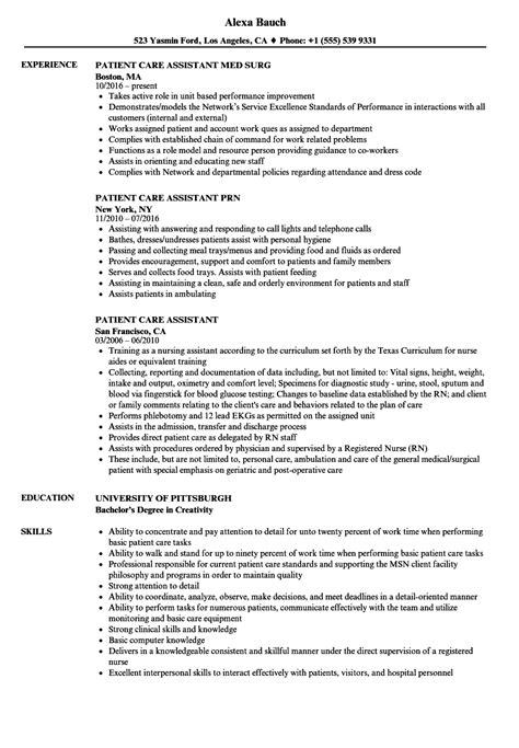 Sle Resume Patient Care Assistant by Patient Care Resume Bijeefopijburg Nl