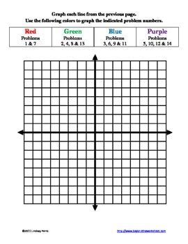 graphing linear equations  color worksheet math